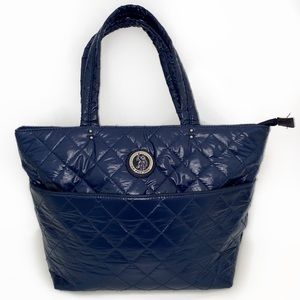 US Polo blue quilted leather tote bag